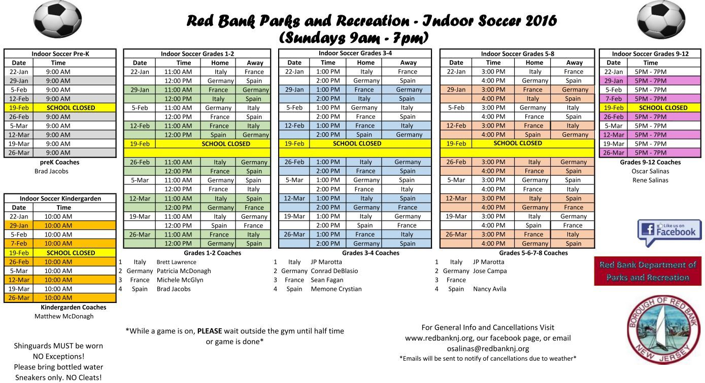 Indoor Soccer Schedule 2017